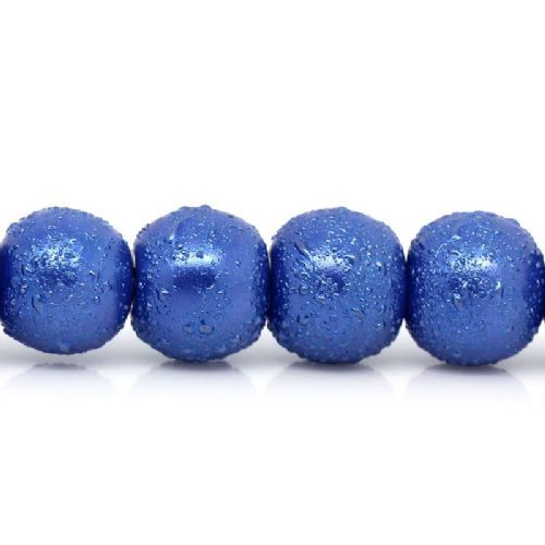 110 Dark Blue Stardust Glass Beads Round 8mm Dia,